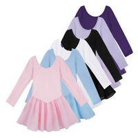 US Girls Long Sleeve Ballet Dress Child Gymnastic Leotard Dancewear Tutu Costume