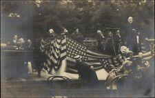 Cooper Park Cooperstown NY Patriotic Event Speaker on Stage c1910 RPPC