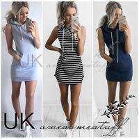 UK Womens Slim Bodycon Clubwear Bandage Mini Dress Ladies Hoodie Tops Size 6-14