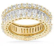 Gold Eternity Band size 7 F-G Vs 6.50 Carat Round & Baguette Diamond 14K Yellow