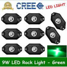 8PCS 9W Cree LED Rock Green Car Trail Fender Under Glow Lamp Boat Deck Rig Light