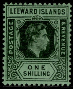 LEEWARD ISLANDS GVI SG110bb, 1s black & grey/emerald, NH MINT. Cat £130.