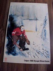 1988 CALGARY WINTER OLYMPIC HOCKEY POSTER VINTAGE FIBERGLASS GOALIE MASK 24 X 36