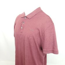 Calvin Klein CK Men Polo Shirt Sz XL S/S Solid Red Liquid Touch Spell Out A20-11