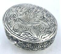 Middle Eastern Arabic Ornate 800 Silver Trinket Pill Box