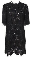 DOLCE & GABBANA Black Lace Dress 3/4 Sleeve Shift Zipper Sz 44
