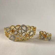 AMBER GOLD BANGLE RING SET INDIAN COSTUME JEWELLERY AMERICAN DIAMOND CRYSTAL NEW
