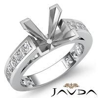 1.20Ct Princess Side Diamond Engagement Ring Channel Setting 4 Prong Semi Mount