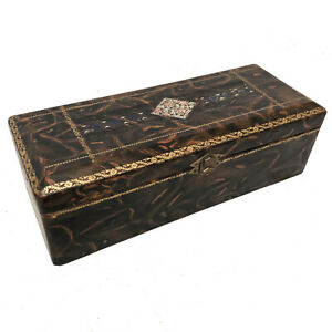 Victorian Leather Embossed Faux Marble Glove Box