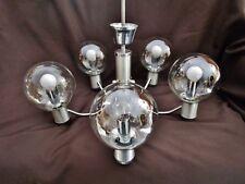 ancien  grand lustre en aluminium brossé et chromé-5 lumières-boules-vintage 80