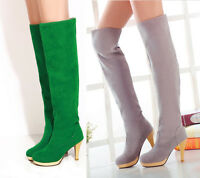 New Stylish womens grace over the knee boots high heel platform pull on US4-11