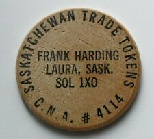 Laura Sk Canada - Frank Harding issued wooden nickel - collector of woods/tokens