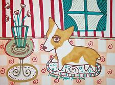 PEMBROKE WELSH CORGI in Sitting Room Dog Vintage Style Art Print 8 x 10 Signed