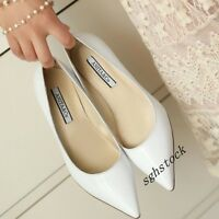 New Hot Fashion Womens High Kitten Heels Patent Leather Pointy Toe Casual Shoes