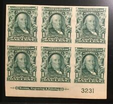Tdstamps: Us Stamps Scott#314 1c Franklin Mint Lh Og, P#Block of 6