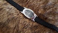 Jaclyn Smith Quartz Crystal Wrist Watch Black Leather Bracelet