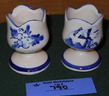 2 Vintage Hand Painted Delft Blue White Ceramic Tulip Shaped Candle Holders