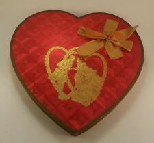 Antique Valentine Chocolate Textured Candy Heart Box Ribbon Gold Foil Couple 30s
