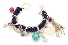 Zest grueso pulsera con dijes de cadena con terciopelo oro y púrpura