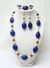 Blue Oval Acrylic w/White & Bronze Bead Necklace/Bracelet/Earrings Set