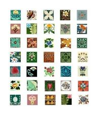 Miniature Art Nouveau Tile Art Inchies Floral Fabric Blocks FrEE ShiPping  (A2