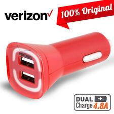 Original Verizon Rapid Dual USB Car Charger OEM Red Fast Adapter 4.8A Samsung LG