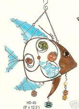 stained glass & copper fish suncatcher  windchime