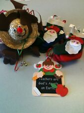 Ready Made Christmas Crafts Lot-Ornaments Are Handmade From Kits-Cute Festive