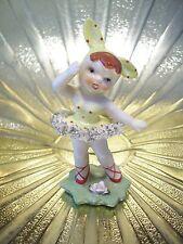Very RARE VTG Lefton Pixie Elf Bunny Rabbit Ballerina Girl Easter Figurine EX