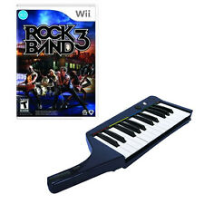 NEW Nintendo Wii Rock Band 3 Game & Wireless Keyboard Bundle Clavier Mad Catz