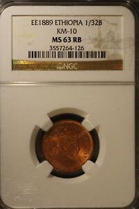 EE1889 Ethiopia 1/32B NGC MS 63 RB     ** Free U.S. Shipping **