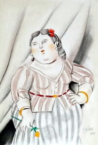 FERNANDO BOTERO / Great Charcoal & Pastel on Paper, Signed & Dated. 1991