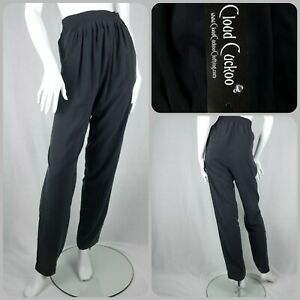 Bnwt Black Pure Silk Trousers Size S/M 8-10 Relaxed Harem Fit Elasticated Waist