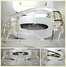 OVERSIZED RETRO HIP HOP Style Clear Lens EYE GLASSES Transparent & Gold Frame