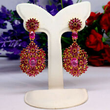 NATURAL PINK WITH RED RUBY LONG EARRINGS 925 STERLING SILVER