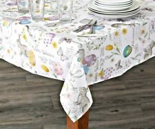 Easter Spring Fabric Tablecloth Pastel Colors Washable - 4 Sizes Available