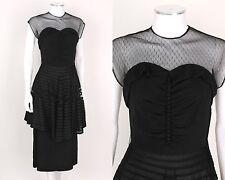 VTG 1940s BLACK SHEER TULLE ILLUSION TOP SATIN RAYON CREPE COCKTAIL DRESS SZ XS