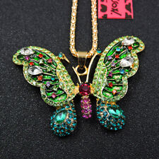 Betsey Johnson Green Enamel Rhinestone Cute Butterfly Pendant Chain Necklace