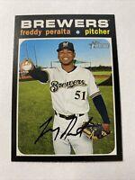 2020 Topps Heritage Baseball Freddy Peralta Milwaukee Brewers Card #392