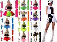 NEW NEON TUTU SKIRT FANCY DRESS SET 3PC SET Party GOGO Boots Dance 60'S 70'S 80S
