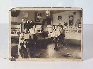 1906 SACRAMENTO CALIFORNIA BARBERSHOP INTERIOR CARD MOUNT PHOTO CABINET CARD