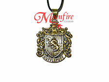 HARRY POTTER HUFFLEPUFF HOUSE CREST PENDANT NECKLACE LOYAL PATIENT HARD WORKER