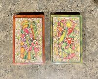 Two Decks of Vintage Trump Stained Glass Flowers Playing Cards USA New Sealed