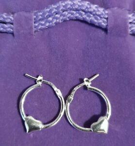 Sterling Silver heart loop earrings pierced new Goldmark  1.5cm