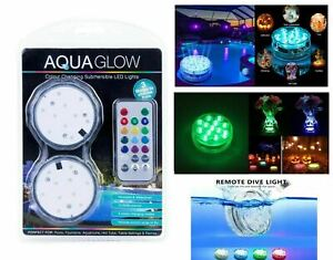 12 BULK Submersible RGB LED Light w/Remote Control Pool Spa Pond Water Reusable