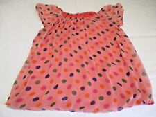MADE IN ITALY PEACHY DOTTY PRINT SILK ? CHIFFON GYPSY STYLE BLOUSE TOP UK 8 - 10