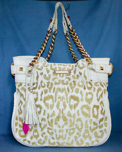 BETSEY JOHNSON Large White & Gold Leopard Print Tote Bag Carryall Chain Handles
