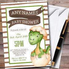 Boys Baby Dinosaur Personalised Baby Shower Invitations