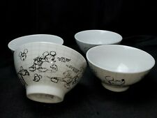 New listing Set Of 4 New Disney Sketch Book Ceramic Cereal Soup Bowl Mickey Mouse Disney