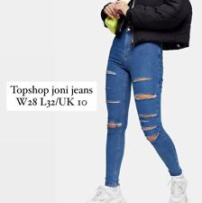 Topshop Super High Waisted Ripped Joni Jeans W28 L32 or UK 10 in Mid Blue